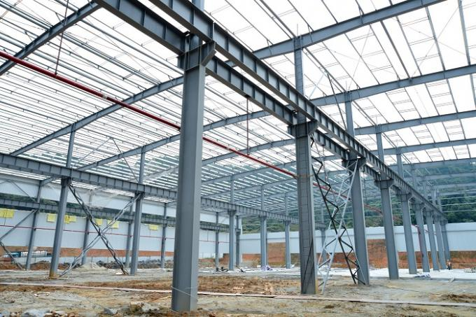 Wide Span Workshop Prefab Steel Structures With AWS And BS EN ISO Certificate