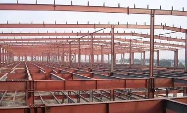 China Red Construction Steel Structure ,High Rise Garage Frame for Industrial Building supplier
