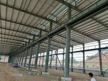 China Fire Resistance Steel Structure Workshop With Grey Or Blue Color Steel Claddings supplier